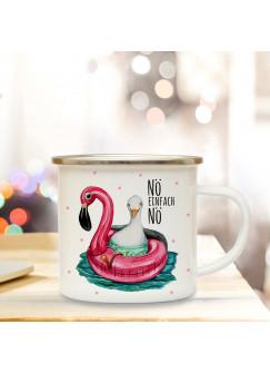 Emaille Becher Camping Tasse Möwe Flamingo & Spruch NÖ einfach NÖ Kaffeetasse Geschenk eb171
