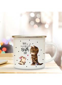 Emaille Becher Camping Tasse Schweinchen Katze & Spruch have a magical birthday Kaffeetasse Geschenk eb174