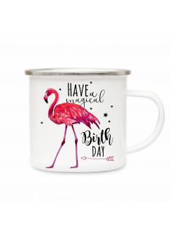 Emaille Becher Camping Tasse Flamingo Sterne & Spruch have a magical birthday Kaffeetasse Geschenk eb177
