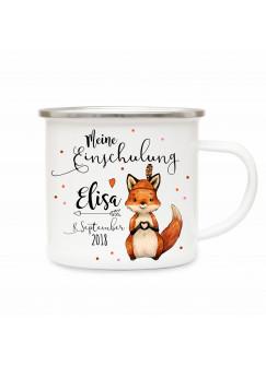 Emaille Becher Camping Tasse Fuchs & Spruch meine Einschulung Kaffeetasse Geschenk mit Name Wunschname & Datum eb178