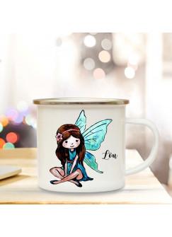 Emaille Tasse Becher mit süßer Elfe Fee Kaffeebecher individuell mit Name Wunschname eb18