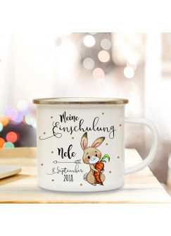 Emaille Becher Camping Tasse Hase Häschen & Spruch meine Einschulung Kaffeetasse Geschenk mit Name Wunschname & Datum eb181