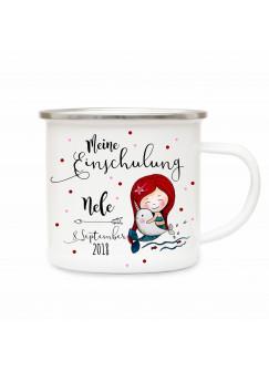 Emaille Becher Camping Tasse Meerjungfrau & Spruch meine Einschulung Kaffeetasse Geschenk mit Name Wunschname & Datum eb182