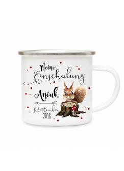 Emaille Becher Camping Tasse Eichhörnchen & Spruch meine Einschulung Kaffeetasse Geschenk mit Name Wunschname & Datum eb184