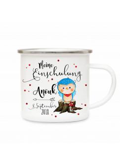 Emaille Becher Camping Tasse Eule Eulchen & Spruch meine Einschulung Kaffeetasse Geschenk mit Name Wunschname & Datum eb185
