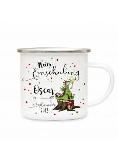 Emaille Becher Camping Tasse Drachen & Spruch meine Einschulung Kaffeetasse Geschenk mit Name Wunschname & Datum eb186