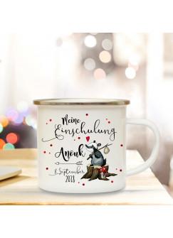 Emaille Becher Camping Tasse Waschbär & Spruch meine Einschulung Kaffeetasse Geschenk mit Name Wunschname & Datum eb188