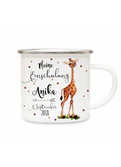 Emaille Becher Camping Tasse Giraffe & Spruch meine Einschulung Kaffeetasse Geschenk mit Name Wunschname & Datum eb190