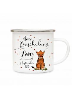 Emaille Becher Camping Tasse Tiger & Spruch meine Einschulung Kaffeetasse Geschenk mit Name Wunschname & Datum eb191