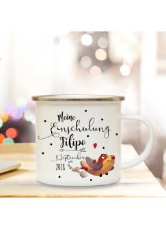 Emaille Becher Camping Tasse Flugzeug & Spruch meine Einschulung Kaffeetasse Geschenk mit Name Wunschname & Datum eb193