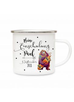 Emaille Becher Camping Tasse kleines Monster & Spruch meine Einschulung Kaffeetasse Geschenk mit Name Wunschname & Datum eb194