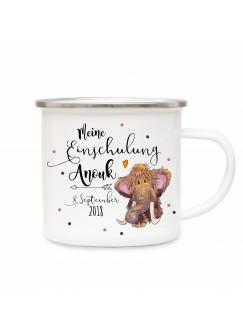 Emaille Becher Camping Tasse kleines Mammut & Spruch meine Einschulung Kaffeetasse Geschenk mit Name Wunschname & Datum eb195