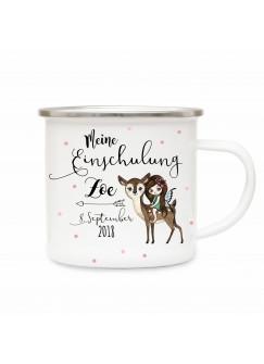 Emaille Becher Camping Tasse Elfe Fee auf Reh & Spruch meine Einschulung Kaffeetasse Geschenk mit Name Wunschname & Datum eb196
