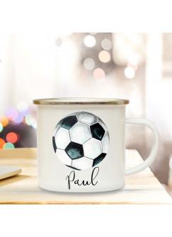 Emaille Becher Camping Tasse Fußball Kaffeetasse Geschenk für Fußballer & Fußballerin mit Name Wunschname eb198