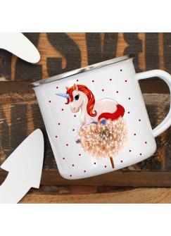Emaille Tasse Becher mit Einhorn auf Pusteblume Kaffeebecher Einhorntasse mit Punkte eb02