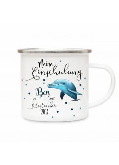 Emaille Becher Delphin Einschulung Camping Tasse Delfin mit Spruch meine Einschulung Kaffeetasse Geschenk eb203