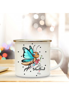 """Emaillebecher Schmetterling Campingbecher Kaffeebecher mit Spruch """"Schulkind"""" eb205"""