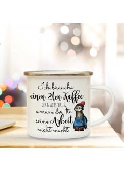 Emaillebecher Campingbecher Kaffeebecher  Emaille Tasse  mit Faultier 2ten Kaffee eb209