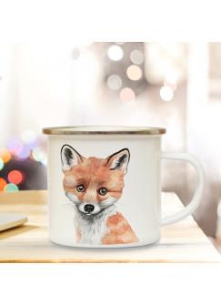 Emaillebecher mit Fuchs Motiv Campingtasse Fuchstasse Becher Kaffeetasse Geschenk eb215