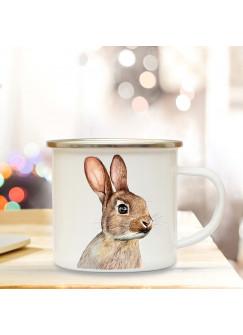 Emaillebecher mit Hase Motiv Campingtasse Hasentasse Becher Kaffeetasse Geschenk eb216