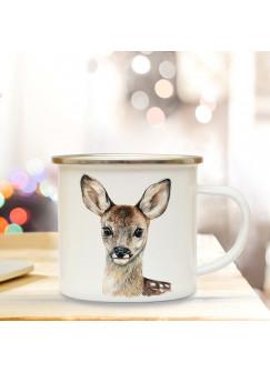 Emaillebecher mit Reh Rehkitz Motiv Campingtasse Rehkitztasse Becher Kaffeetasse Geschenk eb217