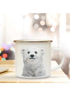 Emaillebecher mit Eisbär Motiv Campingtasse Eisbärtasse Becher Eisbärbecher Kaffeetasse Geschenk eb222