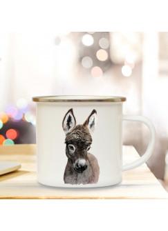 Emaillebecher mit Esel Motiv Campingtasse Eseltasse Becher Eselbecher Kaffeetasse Geschenk eb223