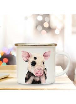 Emaillebecher mit Schwein Schweinchen Motiv Campingtasse Schweinchentasse Becher Schweinchenbecher Kaffeetasse Geschenk eb225