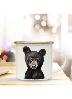 Emaillebecher mit Bär Braunbär Motiv Campingtasse Bärchentasse Becher Bärenbecher Kaffeetasse Geschenk eb226