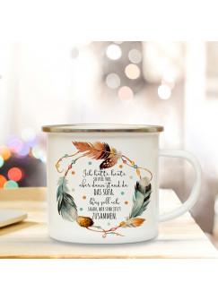 Emaillebecher Federkranz & Motto Ich hatte heute so viel vor... Campingtasse mit Spruch Kaffeetasse Geschenk eb240