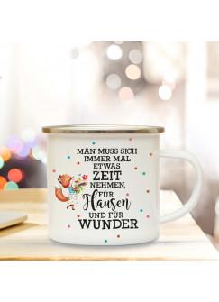 Emaillebecher Motto Flausen & Wunder Campingtasse mit Spruch & Fuchs Kaffeetasse Geschenk eb246