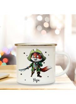 Emaillebecher mit Pirat Fuchs & Name Wunschname Campingtasse mit Füchschen Kaffeetasse Geschenk eb249