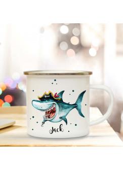 Emaillebecher mit Hai Pirat & Name Wunschname Campingtasse mit Piraten & Punkte Kaffeetasse Geschenk eb250