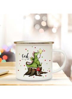 Emaillebecher mit Drache Drachen & Name Wunschname Campingtasse mit Punkte Kaffeetasse Geschenk eb252