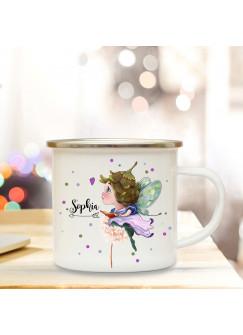 Emaillebecher mit Elfe Fee Pusteblume & Name Wunschname Campingtasse mit Punkte Kaffeetasse Geschenk eb255
