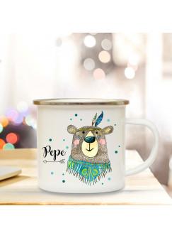 Emaillebecher mit Boho Bär & Name Wunschname Campingtasse mit Punkte Kaffeetasse Geschenk eb257