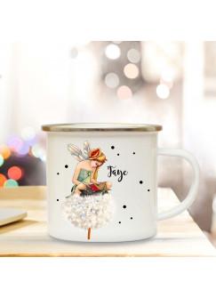 Emaillebecher mit Fee auf Pusteblume & Name Wunschname Campingtasse mit Punkte Kaffeetasse Geschenk eb258