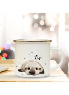 Emaillebecher mit Otter Baby & Name Wunschname Campingtasse mit Punkte Kaffeetasse Geschenk eb259