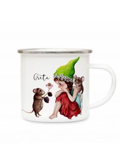 Emaillebecher mit Elfe Fee Maus Mäuse & Name Wunschname Campingtasse Geschenk eb264