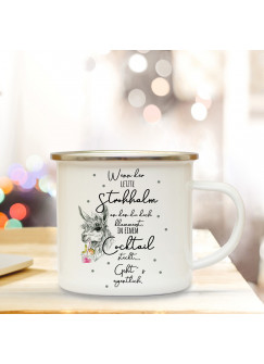 Emaille Tasse Emaillebecher Kaffeebecher Lama mit Drink & Spruch Wenn der letzte Strohhalm im Cocktail Campingtasse Geschenk eb270