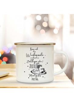 Emaille Tasse Emaillebecher Kaffeebecher mit Faultier & Spruch nochmal Wochenende in Zeitlupe sehen Campingtasse Geschenk eb271