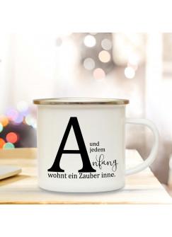 Emaille Tasse Emaillebecher Kaffeebecher mit Buchstabe A und Spruch Anfang wohnt ein Zauber inne Campingtasse Geschenk eb272