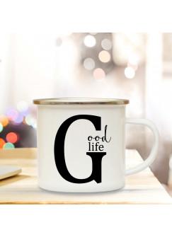 Emaille Tasse Emaillebecher Kaffeebecher mit Buchstabe G und Spruch Good life Campingtasse Geschenk eb275