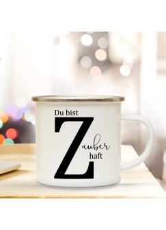 Emaille Tasse Emaillebecher Kaffeebecher mit Buchstabe Z und Spruch Zauberhaft Campingtasse Geschenk eb277