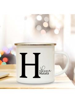 Emaille Tasse Emaillebecher Kaffeebecher mit Buchstabe H und Spruch Hakuna Matata Campingtasse Geschenk eb279