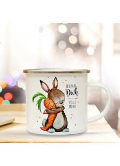 Emaille Tasse Becher mit Hase Häschen Kaffeebecher Camping Becher mit Spruch Ich mag dich volle Möhre eb28