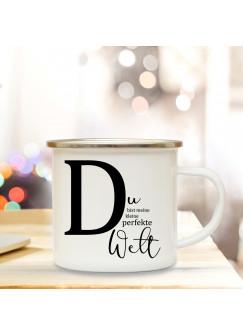 Emaille Tasse Emaillebecher Kaffeebecher mit Buchstabe D und Spruch Du perfekte Welt Campingtasse Geschenk eb281