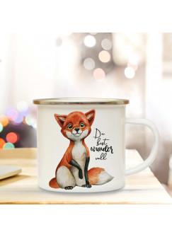Emaille Becher Camping Tasse Fuchs mit Spruch Du bist wundervoll Kaffeetasse Geschenk eb282