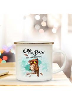 Emaille Becher Camping Tasse Eule mit Brille & Spruch Opa ist der Beste Kaffeetasse Geschenk eb285