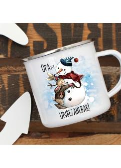 Emaille Becher Camping Tasse Schneemann mit Hase & Spruch Opa ist unbezahlbar Kaffeetasse Geschenk eb286